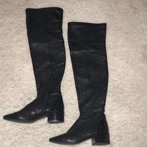 Zara black leather patent thigh over knee boot